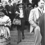 166.  Winnie Mandela leaving the courtroom after her husband's trial in 1964 (Alf Kumalo, Bailey's African History Archive)