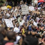214.  Students at the University of Cape Town protesting against the rise in fees  (Gallo Images)