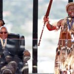 226.  President Zuma with a praise singer (Gallo Images)