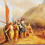 33.  Romanticised painting of the arrival of Jan van Riebeeck at the Cape (South AFrican Library)