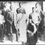 74.  M K Gandhi (centre) and some of the Indian leaders in 1912 (S S Singh Centre, Unisa)