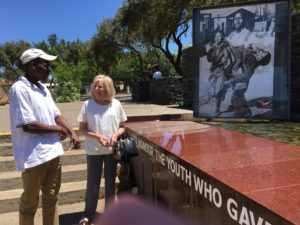 Gail Nattrass and Khulekani Sibanda at the Hector Pieterson Museum in Soweto